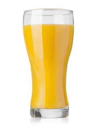 verre de jus d orange: Verre de jus d'orange frais sur fond blanc avec chemin de détourage Banque d'images