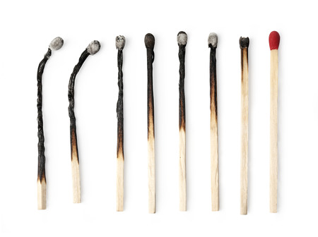 burnt wood: Set of burnt match at different stages isolated on white background  with clipping path