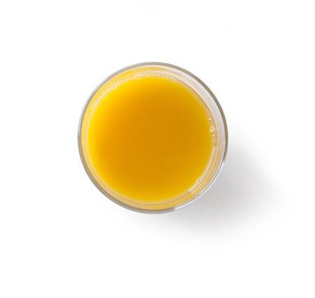 verre de jus d orange: Jus d'orange sur fond blanc vue de dessus Banque d'images