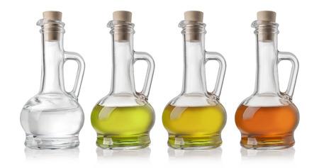 Glass Bottles Of Oil And Vinegar On White Background Imagens