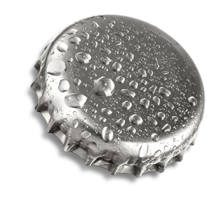 silver beer bottle cap close up macro Isolated on white background  photo