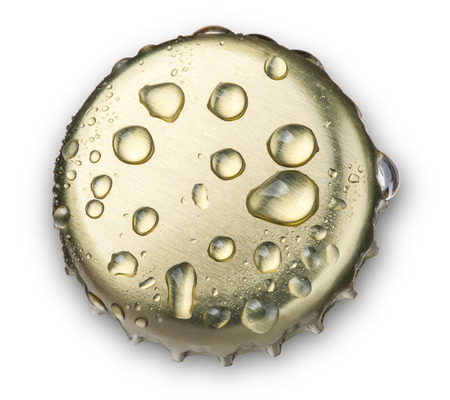 handle bars: beer bottle cap close up macro Isolated on white background  with clipping path
