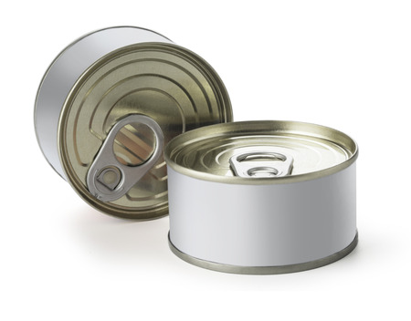 canned goods: Cans with blank white label isolated on white With clipping path Stock Photo