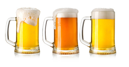 un bottled:  glasses of beer set isolated on a white background Stock Photo