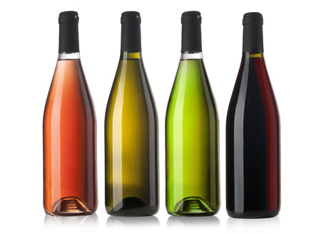 aligote: Set of white, rose, and red wine bottles  isolated on white background