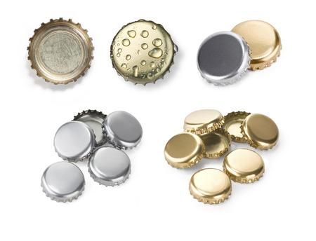 opener: close up of a bottle caps set on white background  Stock Photo