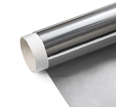 Aluminum foil on white background with clipping path