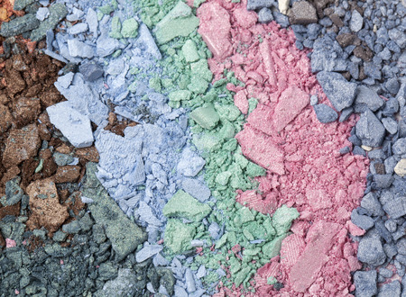 face paint: set of multicolor crushed eyeshadows close up Stock Photo