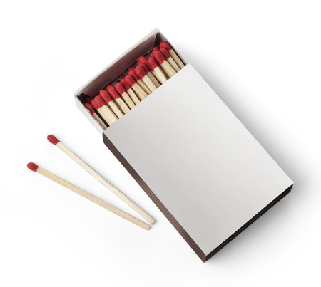 match box: Open Box of Matches With Copy Space Isolated on White Background with clipping path Stock Photo