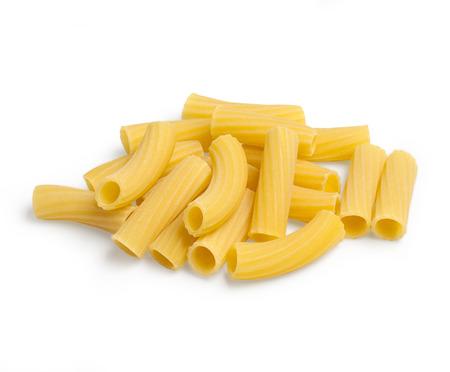 pasta isolated: tortiglioni raw pasta isolated on white background