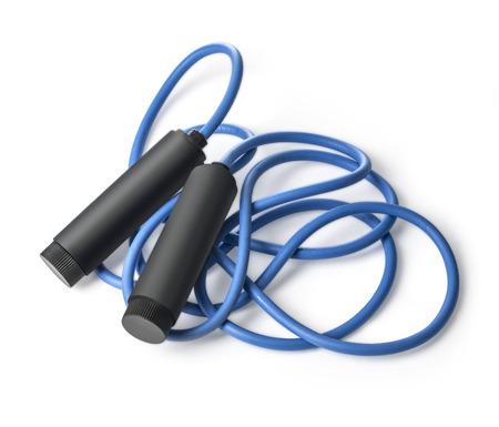 salto largo: saltar la cuerda para un ejercicio, aislado en blanco. con trazado de recorte Foto de archivo