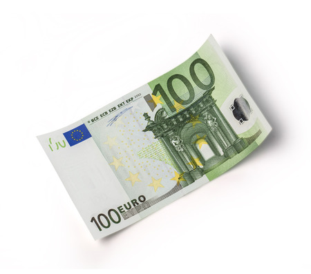 one banknote 100 euro isolated on white with clipping path
