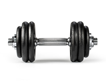 dumbbells over white background. with clipping path Foto de archivo