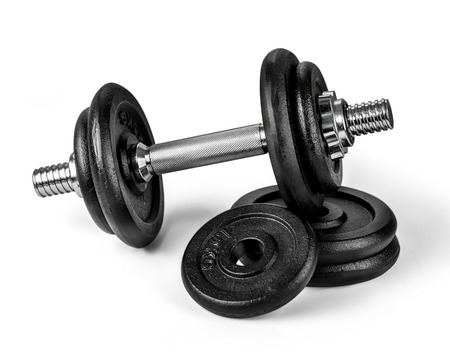 workout gym: Fitness exercise equipment dumbbell weights on white background.With clopping path Stock Photo