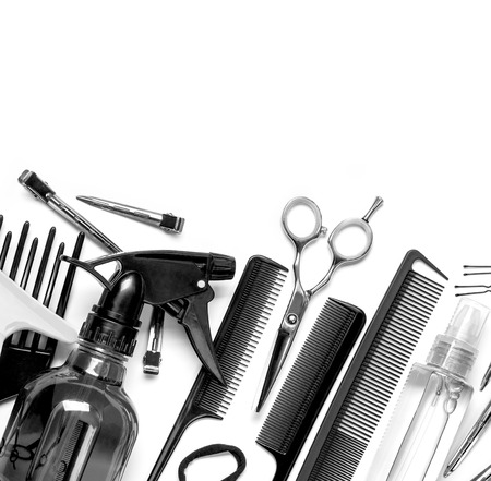 barber background: Professional hairdresser tools, isolated on white