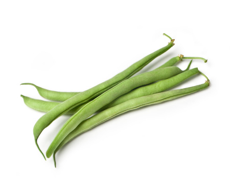 french bean: Pile of green french beans in isolated white background.with clipping path