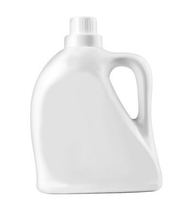 液体洗剤、洗浄剤、漂白剤、ファブリック softener.with クリッピング パスの白いプラスチック製のボトル 写真素材