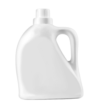 White plastic bottle for liquid laundry detergent, cleaning agent, bleach or fabric softener.with clipping path