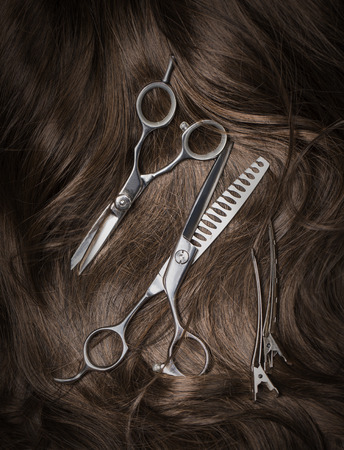 flaxen: Long brown hair with scissors on close up