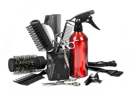 équipement: Outils de coiffeur professionnel, isolé sur fond blanc
