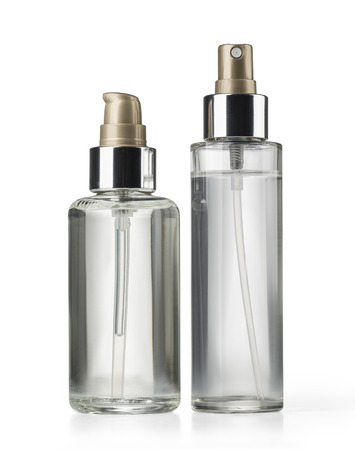 two cosmetics bottle on white background with clipping path 스톡 콘텐츠