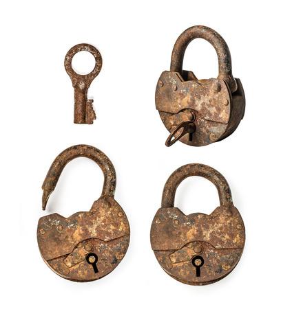 Old  padlock and key. Isolated on white background photo
