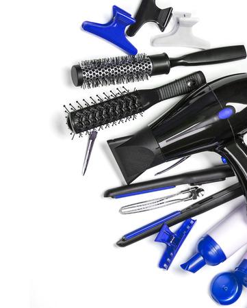 peluqueria: Instrumento de peluquería aislados en fondo más blanco Foto de archivo
