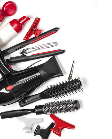 hairdressers: Hairdressing tools  isolated  on whiter background