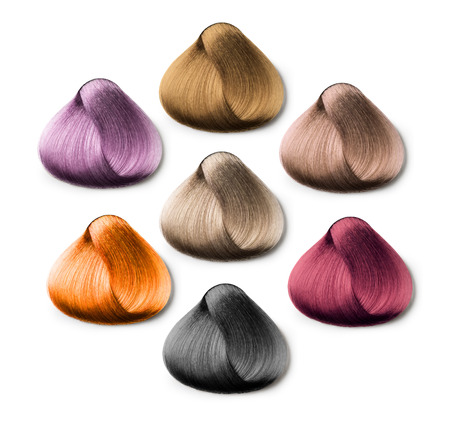 dyed hair: hair samples of different colors on white background