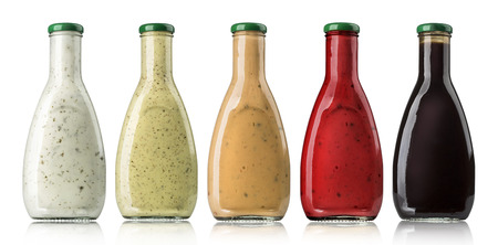 catsup bottle: the various barbecue sauces in glass bottles with clipping path