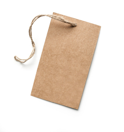 merchandize: Blank tag tied with brown string with clipping path