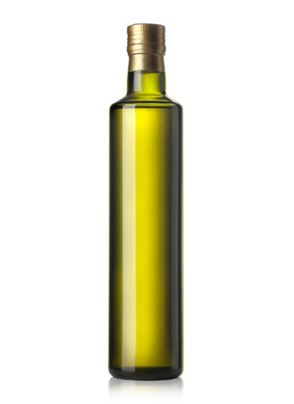 Olive oil bottle on white (includes clipping path) Standard-Bild
