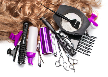 salon background: hairdresser Accessories for coloring hair on a white background