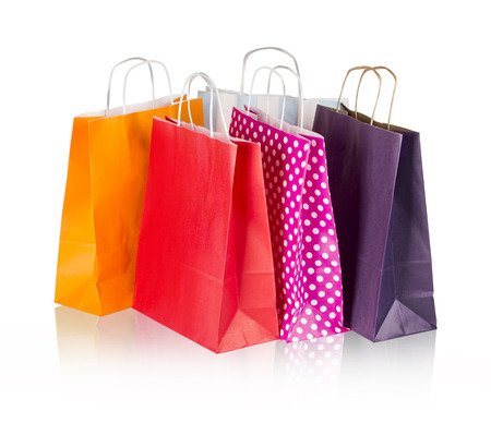 Colorful shopping bags isolated on white with clipping path photo