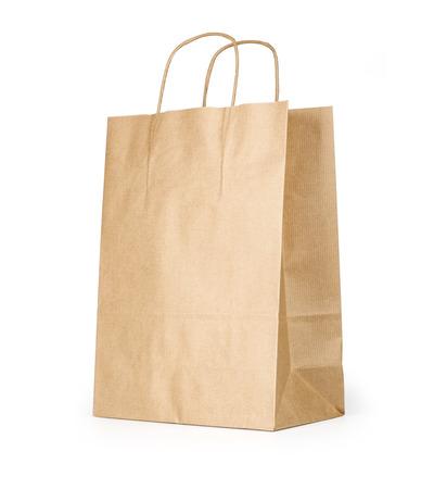 Lege bruine papieren zak op een witte achtergrond Stockfoto