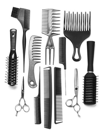 black barber: Professional hairdresser tools isolated on white background Stock Photo