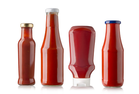 Bottles of Ketchup isolated on white background Stok Fotoğraf