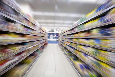 store interior: Empty supermarket aisle,motion blur