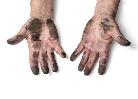 man with dirty hands isolated on white  Imagens
