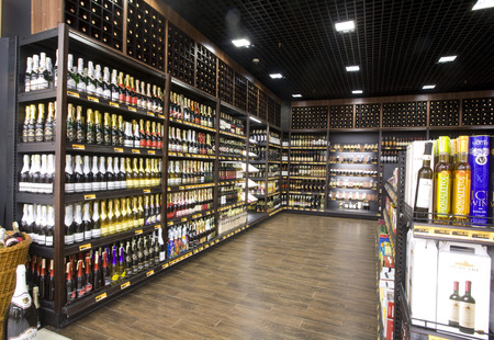 N 1 supermarket shelves with wine on Aprilh 06th 2011 in Chisinau.Moldova