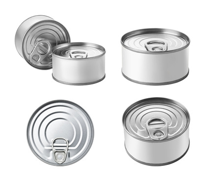tinned goods: The collection of canned food with Copy Space Isolated on a White Background. Stock Photo