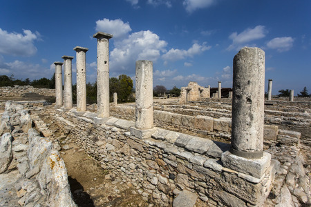 kilometres: The Sanctuary of Apollo Hylates, Cyprus. The sanctuary is located about 2,5 kilometres west of the ancient town of Kourion along the road which leads to Pafos. Stock Photo