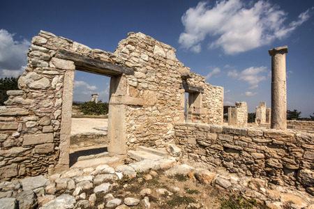 2 5: The Sanctuary of Apollo Hylates, Cyprus. The sanctuary is located about 2,5 kilometres west of the ancient town of Kourion along the road which leads to Pafos. Stock Photo