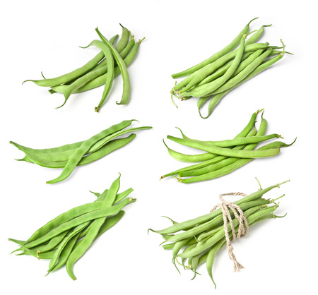 french bean: Pile of green french beans in isolated white background.