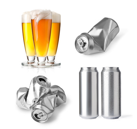 aluminum cans: set of aluminum cans isolated on white