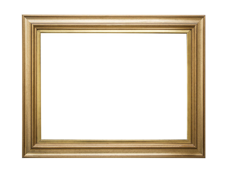 old picture: Gold frame. Goldgilded arts and crafts pattern picture frame. Isolated on white