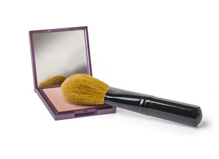 face powder: Face powder and brush on white background  Stock Photo