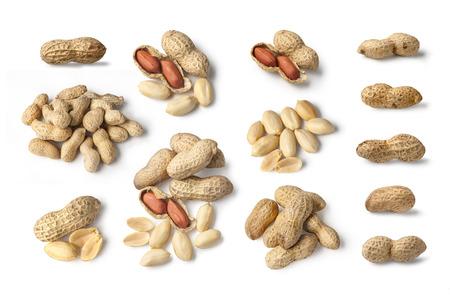 hard core: Set of Peanuts isolated on white background close up Stock Photo