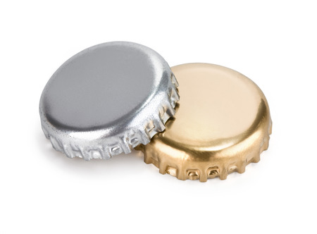bottle cap opener: close up of a bottle caps on white background with clipping path Stock Photo