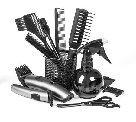 barrettes: Strumenti di parrucchiere professionista, isolati su bianco